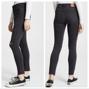 Madewell High Riser Distressed Raw Hem Jeans 27